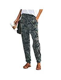 Kaimu Women Camouflage Loose Casual Pants Drawstring Streetwear Trousers Pants & Capris