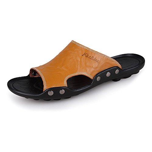 Deporte de Zapatillas Sandalias Zapatillas de Hombres de Antideslizantes de Genuino Piel Playa Orange Vaca los de Cuero de qqEwg67