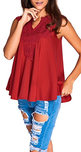 Yonas Women's Off Shoulder Embroidered Applique V Neck Plus Size Blouse Tank Top(SIZE XXL/RED)