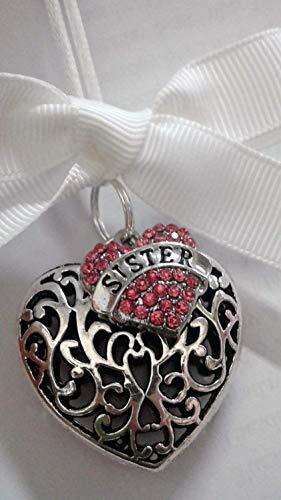 Sister Memorial Christmas Ornament Sympathy Gift in Memory of Sibling w/Pink Crystal ()