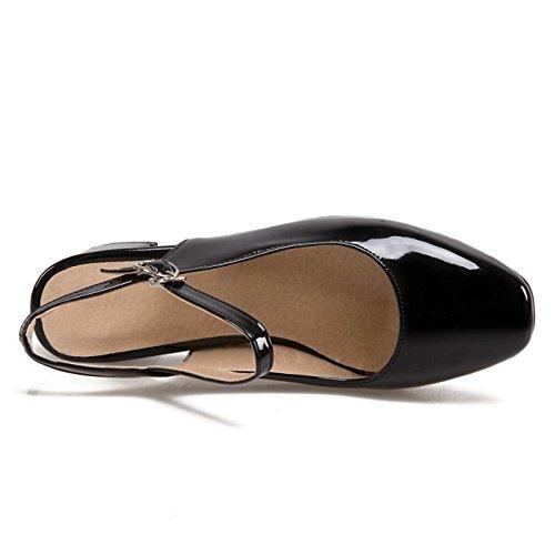 COOLCEPT Mujer Moda Correa de Tobillo Sandalias Tacon Ancho Slingback Cerrado Zapatos Tamano Negro