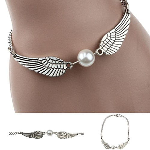 - Sinwo Exquisite Silver Infinity Retro Pearl Angel Wings Jewelry Dove Peace Bracelet Gift (Silver)