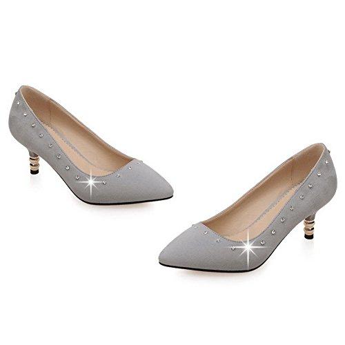 AgooLar Damen Rein Ziehen auf Spitz Zehe Mittler Absatz Pumps Schuhe Grau