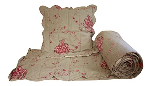3 Pieces Queen Size Bedspread, 98'' X 86'', French Vintage Design ''Roses'' by My French Neighbor
