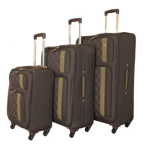 Aero Travel Featherlight Collection 3-Piece Spinner Upright Luggage Set - Brown -