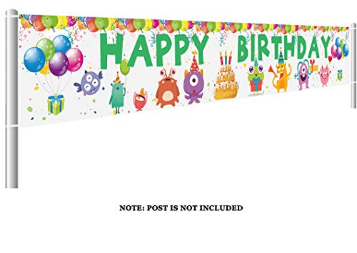 Colormoon Large Monster Bash Happy Birthday Banner, Little Monster Birthday Decorations Party Supplies, Outdoor Indoor (9.8 x 1.5 feet)