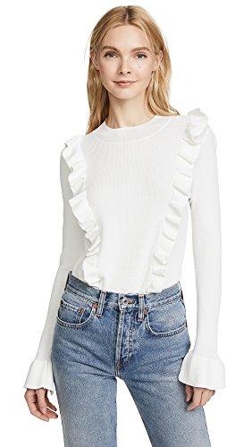 Glamorous Cream (Glamorous Women's Ruffle Front Sweater, Cream, Medium)