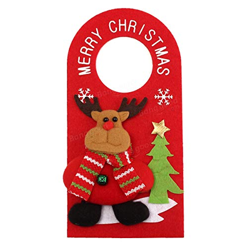 Applique Style Christmas Decor Beautiful Detailed Design Padded Felt Door Hanger - Holidays & Events Gadgets Decoration - (02) - 1x Christmas Door Knob Hanger ()