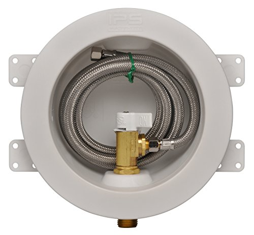 IPS CORPORATION GIDDS-284201 Ips Water-Tite Round Icemaker Valve Outlet Box with Quarter Turn Valve And Stainless Supply Line, Copper Sweat, Lead Free (Box Stainless Valve Steel)