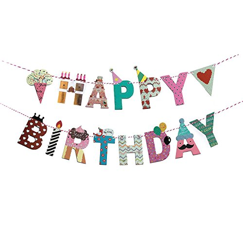 FECEDY Cartoon Happy Birthday Banner Colorful Bunting (Mixed Color)