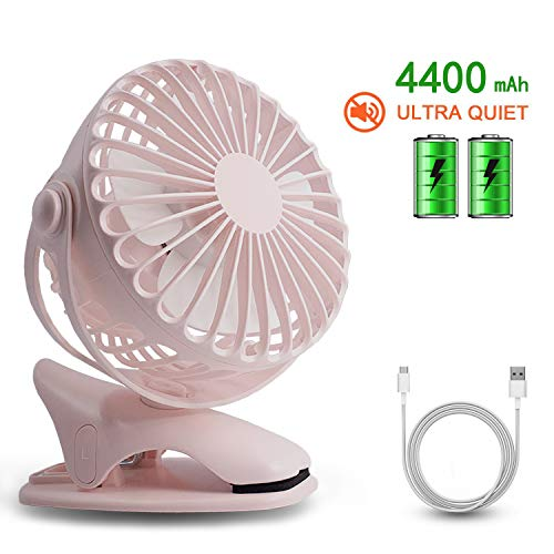 - HALLO Gontar Clip-on Stroller Fan 4400 mAh Rechargeable Lithium Battery & USB Cable 360°Rotation Adjustable Speed-Operated Accessory for Baby, Car Seat, Gym, Travel, Treadmill,(Pink)