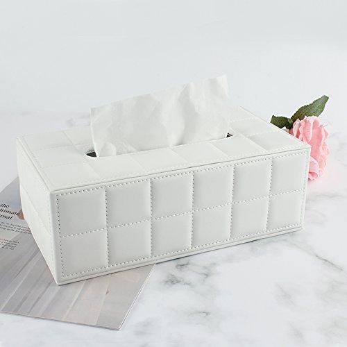 Dosige Kunstleder Tissue-Box mit magnetischen BasisTaschentuchspender f/ür Zuhause B/üro und Auto Wei/ß 10 x 5.5 x 4inches