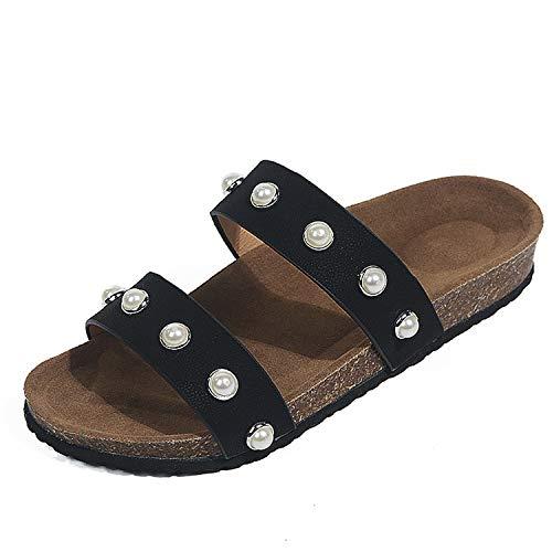 AREBULE-sandal Leopard Flat Sandals Beachslippers Flip Flops Sandalia Feminina Plus Size 35-44,Black ()