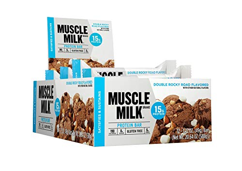 Muscle Milk Protein Bar, Double Rocky Road, 15g Protein, 12 count