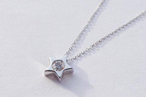 ASS 585or pendentif étoile avec chaîne Kit Bijoux avec Oxyde de Zirconium Blanc