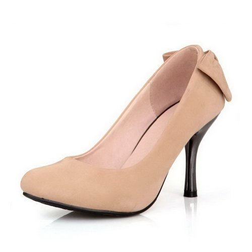 VogueZone009 Womens Stiletto Closed Pointed Toes frosting Suede Pumps with Bowknot apricot GgXnsWoBNR