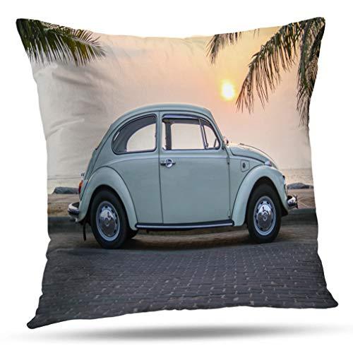 Kutita Antique Decorative Pillow Covers, Thailand Volkswagen Beetle Seaside Street Classic Beetle Car Volkswagen Throw Pillow Decor Bedroom Livingroom Sofa 18X18 inch
