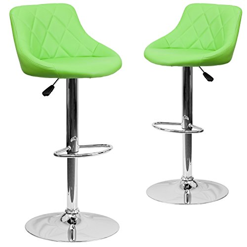 Flash Furniture 2 Pk. Contemporary Green Vinyl Bucket Seat Adjustable Height Barstool with Chrome Base