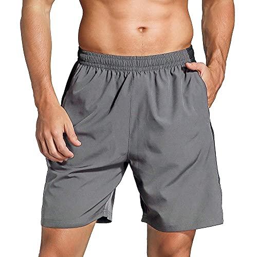 Mantimes Mannen Running Shorts 7? met rits zakken sneldrogende ademende workout atletische actieve gym shorts