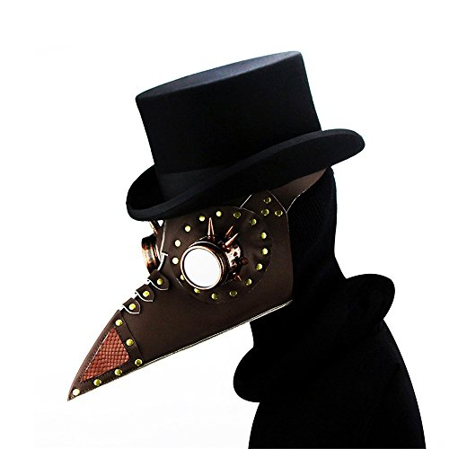 Kehuashina Steampunk Plague Bird Mask Doctor Mask Brown PU Leather Rivet Spike Bird Beak Mask Exclusive Gothic Retro Halloween Cosplay Prop - Exclusive Horizontal Leather