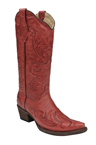 Corral Circle G Women's Red Scroll Embroidery Designed Red Leather Cowgirl (Handmade Cowgirl Boots)