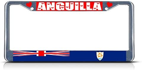 Anguilla Country Flag METAL Chrome License Plate Frame Tag Holder