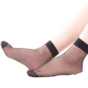 Lowpricenice(TM) 10 pairs Ultrathin Transparent Fiber Crystal Elastic Short Socks (Black)