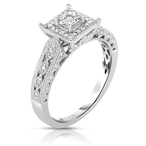 NATALIA DRAKE Sterling Silver 1/10 ctw Princess Halo Diamond Filigree Ring (Ring Sz-7) ()