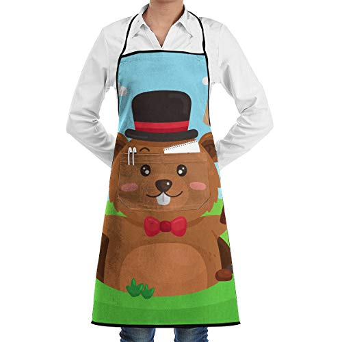 (YEPGL Cartoon Cute Gopher Signaling Spring Bib Aprons Commercial Restaurant and Home Kitchen Apron for Men Women Chef Servers Waiter)