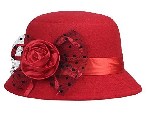 BigoodTM Black Armband Flower Vintage Women Wool Basin Hat Bowler Hat 57cm Red