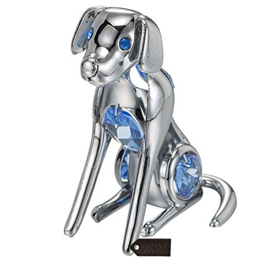 Blue Dog Ornaments - Matashi Dog Figurine Year of The Dog Ornament with Crystal for Home Décor Gifting for Dog Lovers (Blue Crystals, Chrome/Silver)