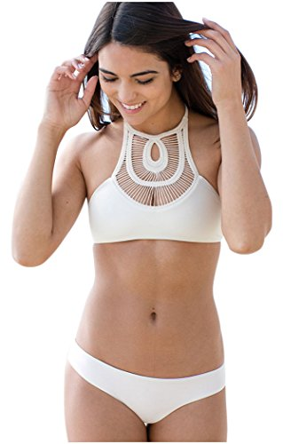 IF FEEL Womens Graceful White High Neck Crochet 2 Piece Beach Cutout Bikini Top Bathing Suit - White/Size - Triathlon Swimsuits Two Piece