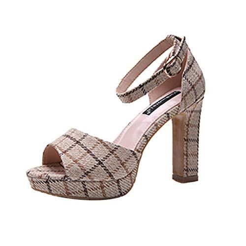 Orangeskycn Women High Heel Sandals Ladies Summer Plaid Peep Toe Sandals Color Matching Buckle Strap Casual Beach Shoes Beige