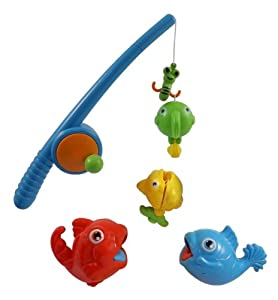 Rod and reel fishing game bath toy set for kids with fish for Toddler fishing pole