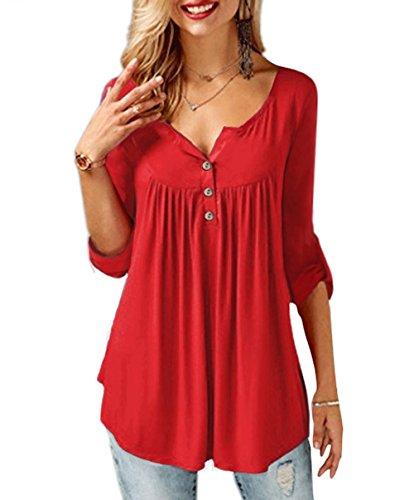 TrendiMax Women Casual Long Sleeve Ruffle Button Tunic Tops V Neck Blouse Shirts ()