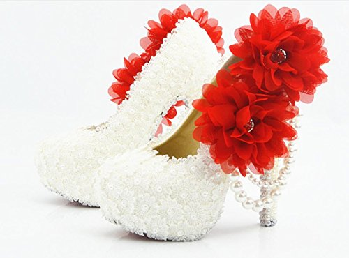 YCMDM scarpe da sposa Large Size Ultra High con il vestito da sposa rotonda scarpe da damigella d'onore del locale notturno Lace Bianco Fiore Rosso , 11 cm with high reservation , 36