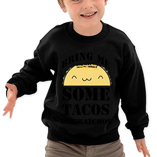 Price comparison product image Puppylol Bring Me Some Tacos Bitchatchos Kids Classic Crew-neck Pullover Hoodie Black 5-6 Toddler