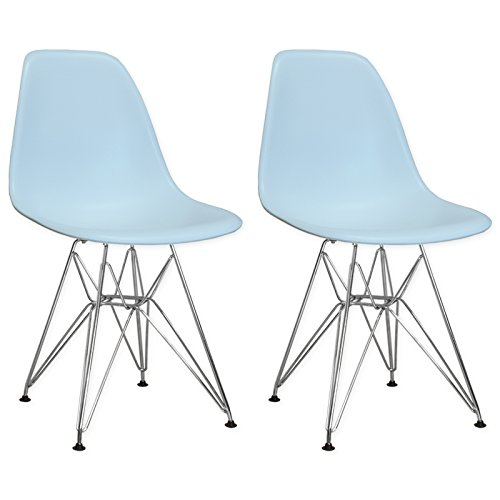 Mod Made Mid Century Modern Paris Tower Side Chair Dining Chair Bistro Chair for Dining Room Living Room or Kitchen - Blue (Set of 2) (Cheap Chairs Replica)