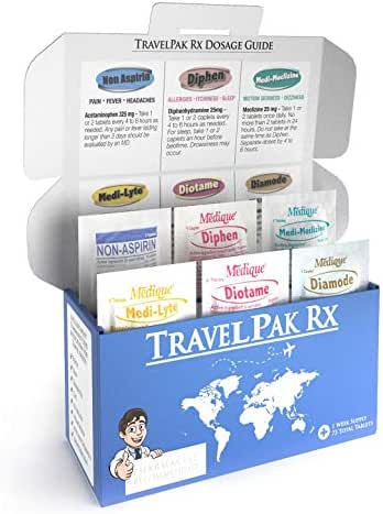 TravelPakRx – A Complete Travel Size Medicine Kit - 73 Tablets - 6 Different Travel Medications in One Box - Acetaminophen - Bismuth - Diphenhydramine - Loperamide - Meclizine - Electrolytes