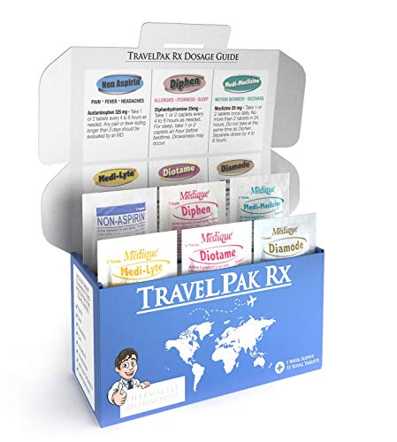 TravelPakRx - A Complete Travel Size Medicine Kit - 73 Tablets - 6 Different Travel Medications in One Box - Acetaminophen - Bismuth - Diphenhydramine - Loperamide - Meclizine - Electrolytes