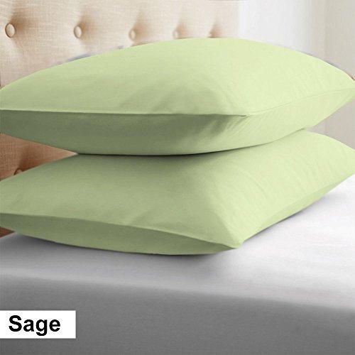 - 2-Piece- Euroshams ~ Solid Pattern 100% Pima Cotton 500 Thread- Count European Super Soft 2 PC Pillow Cases ( 26 x 26 Inch (66cm x 66cm ) , Sage)