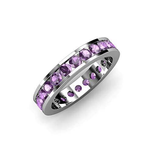 Amethyst Channel Set Eternity Band 1.90 ct tw to 2.30 ct tw in 14K White Gold.size 8.5 Amethyst Channel Set