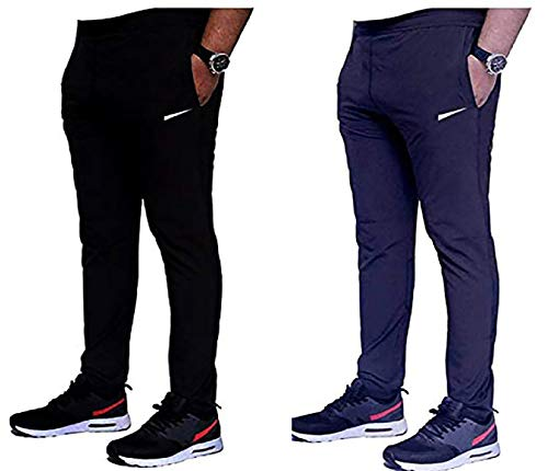 Bawli Booch Out&Fit Track Pant for Men Combo Pack of 2 Plain Track Pant for Men with Side Zipper Pockets Stretchable Regular Fit Track Pants Lower for Sport Gym and Yoga