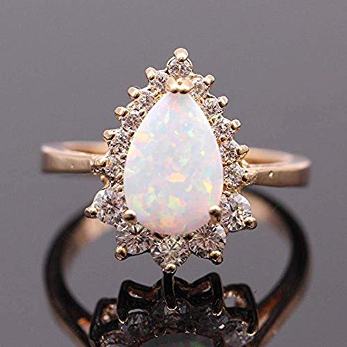ZIS New Design White Fire Opal Water Drop 18K Gold Plated CZ Stone Engagement Jewelry Rings (7) (Gold Cz Rings)