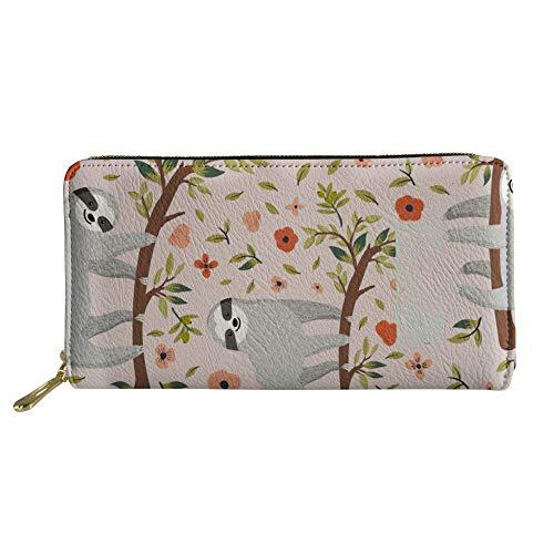 Coloranimal Kawaii Animal Sloth Pattern Long Leather Wallets Credit Cards Phone Slim Wallet Zip Around Clutch Bag for Teenager Girls Boys Unisex