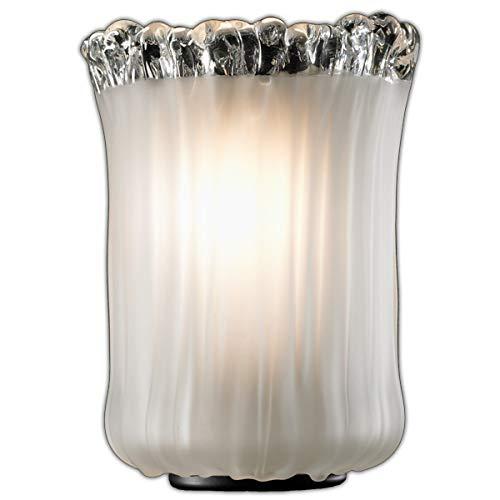 Matte Black Justice Design Group Lighting GLA-8791-16-WTFR-MBLK Veneto Luce-Sabre 1-Light Wall Sconce-Cylinder with Rippled Rim Shade White Frosted