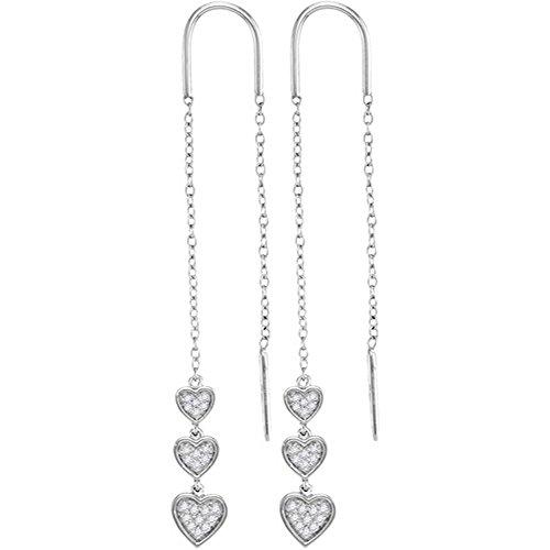 - 10k White Gold Round Diamond Triple Dangling Heart Threader Earrings (1/5 Cttw)