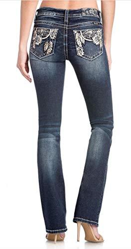 Miss Me Women's Embellished Border Trim Bootcut Jeans in Dark Blue Dark Blue 28 34