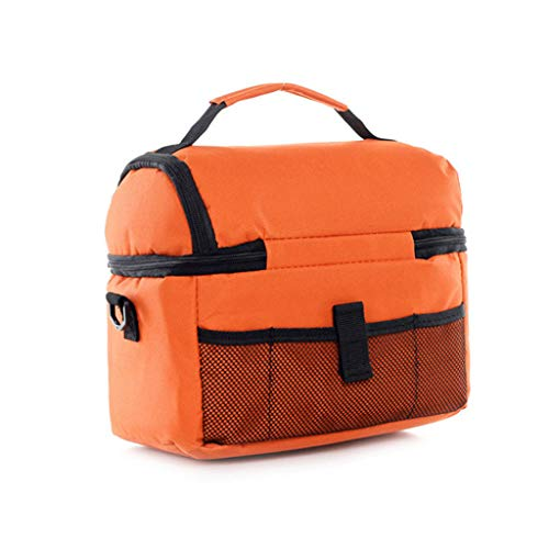 TYPEIN Thermal Insulated Dual Compartment Lunch Bag for Women Double Deck Reusable Lunch Box with Shoulder Strap ()