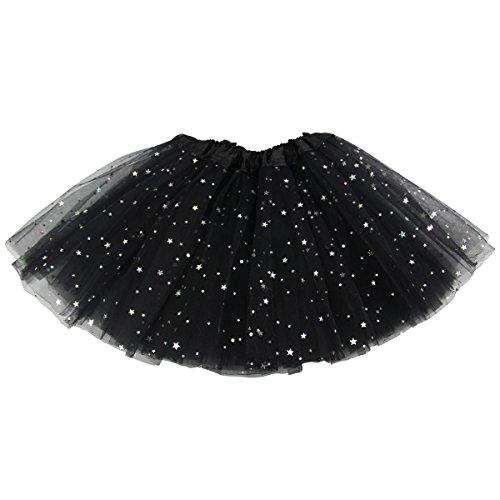 Jastore Girls Layered Stars Sequins Tutu Skirt Princess Ballet Dance Dress (Black) -